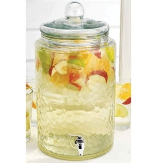 Del Sol 3-Gallon Glass Beverage Dispenser - Round Drink Jug with Leak-Free Spigot for Iced Tea, Lemonade and Water