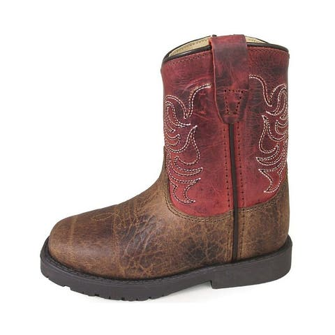Smoky Mountain Western Boots Boys Autry Zip Brown Burnt