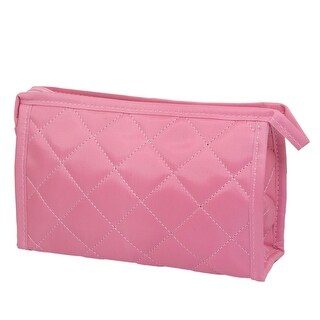 Unique Bargains Ladies Pink Grid Printed Surface Cosmetic Zippered Purse Makeup Bag w Mirror
