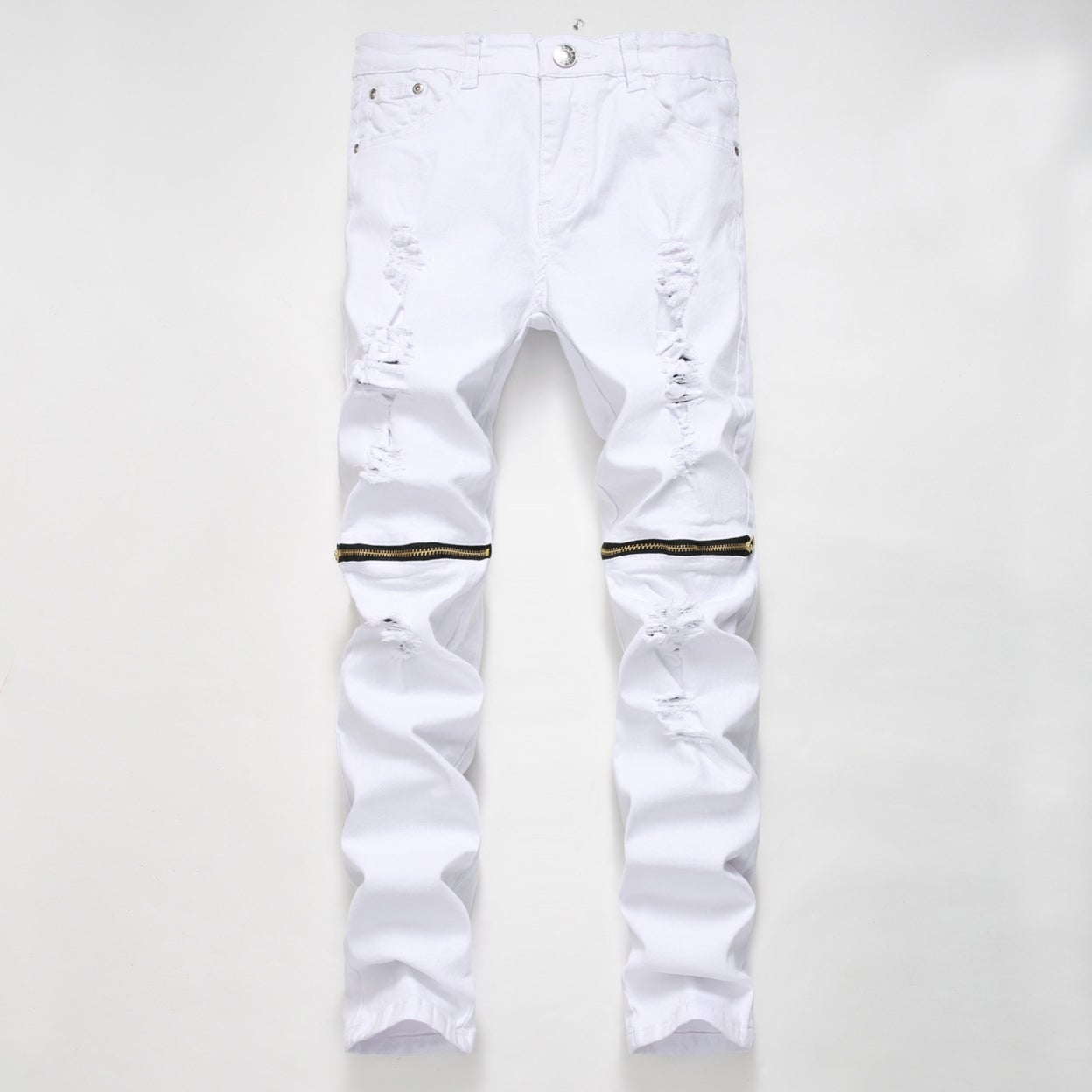 Pilusooou Mens Fashion Ripped Distressed Jeans With Broken Holes