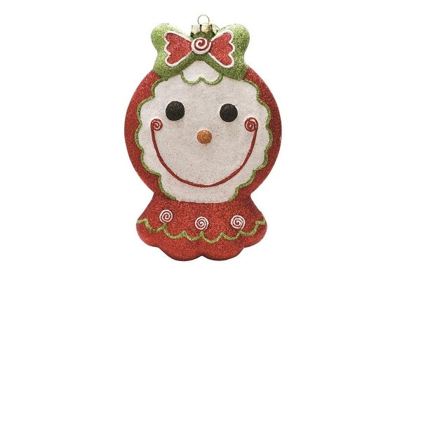 "8.5"" Merry & Bright Red, White and Green Glittered Shatterproof Gingerbread Girl Christmas Ornament"