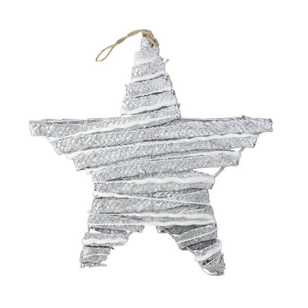 "12"" Winter Light Silver Glittered Rattan Hanging Star Christmas Window Decoration"
