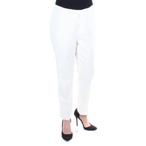 RALPH LAUREN Womens Ivory Pinstripe Straight leg Wear To Work Pants Size: 14