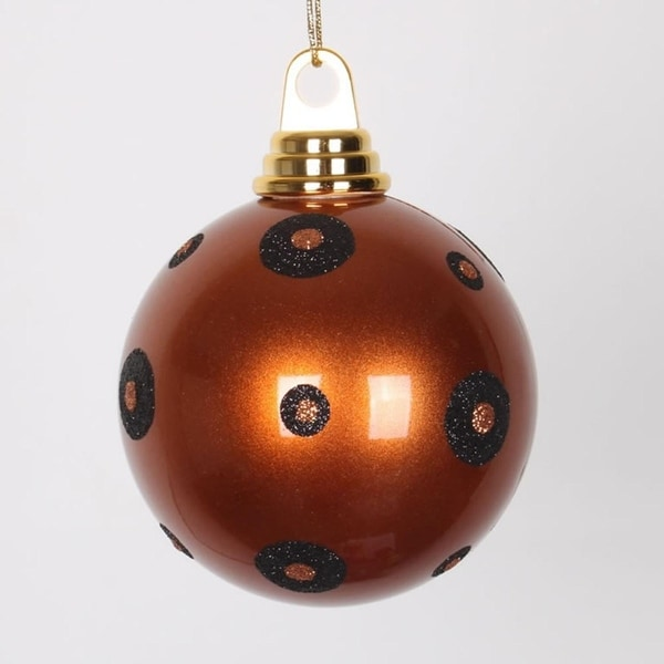 """Candy Copper with Black Glitter Polka Dots Christmas Ball Ornament 4.75"""" (120mm)"""