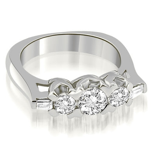 1.25 cttw. 14K White Gold Round and Baguette Cut Diamond Wedding Band