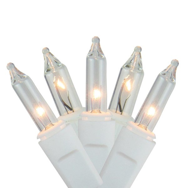 Set of 150 Shimmering Clear Mini Icicle Christmas Lights - White Wire