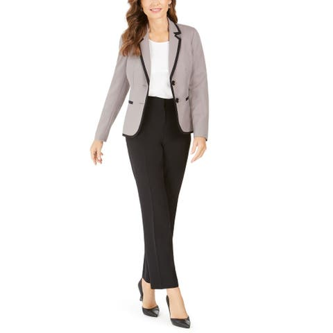 Le Suit Women's Pant Suit Piped Notch Collar 2 Button