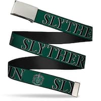 Blank Chrome Bo Buckle Harry Potter Slytherin & Crest Green Black Web Belt