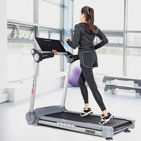 Goplus 2.05HP Portable Folding Electric Treadmill Run Fitness Machine Home Gym - gray