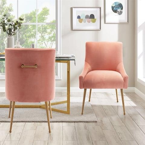Velvet Upholstered Single Side Dining Chair With Golden Legs