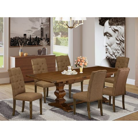 7 Pc Kitchen Dinning Set with Rectangle Table and Parson Chairs (Color Option)