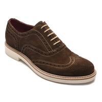 Alexander Men's Jargo Suede Leather Brogue Oxfords Shoes Dark Brown