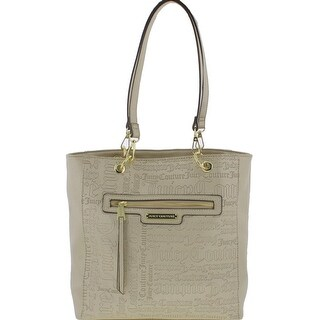 Juicy Couture Womens Word Play Tote Handbag Faux Leather Logo - Medium