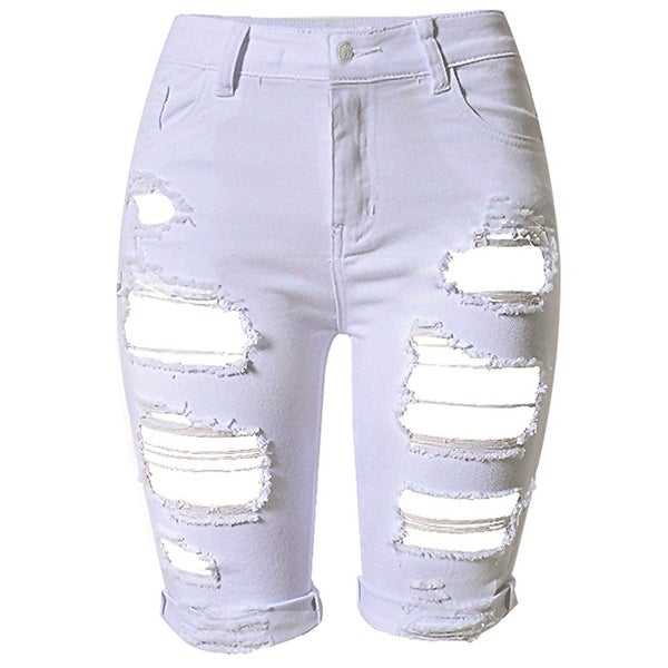 28c4ead78a Olrain White Ice Womens Size 8 Distressed Ripped High Denim Shorts