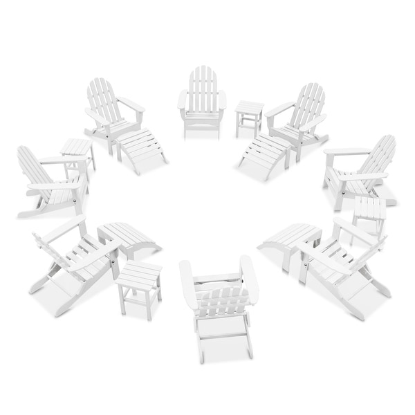 Nelson 8-piece Adirondack Chair Set with 4 Ottomans and 4 Side Tables by Havenside Home. Opens flyout.