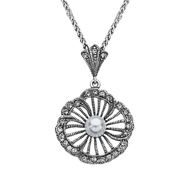 Van Kempen Art Nouveau Simulated Pearl and Swarovski Crystals Flower Pendant in Sterling Silver