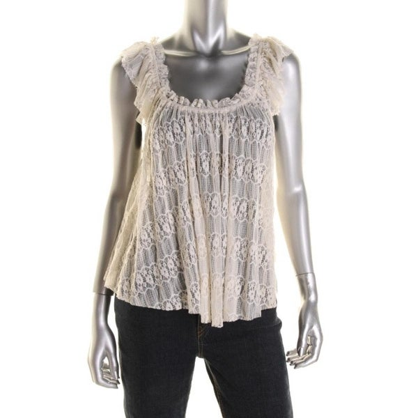 H.I.P. Womens Juniors Blouse Lace Scalloped