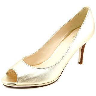 Cole Haan Davis OT. Pump.75 Women Open-Toe Leather Gold Heels