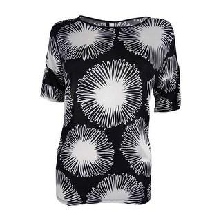 Kensie Women's Daisy Print Top - Black/White