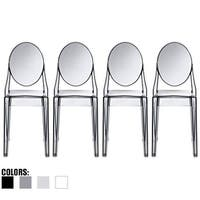 2xhome Set of 4 Designer Transparent Dining Chairs Modern Designer Stacking Accent For Kitchen Armless No Arms