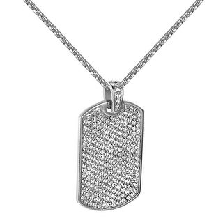 Iced Out Dog Tag Pendant Chain Set Simulated Diamonds Stainless Steel Hip Hop