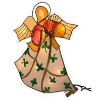 """9.5"""" Luck of the Irish Lighted Angel Christmas Tree Topper - Clear Lights - White"""