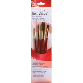 Princeton Art & Brush Co - Real Value Brush Set - $10.99 Brush Set - 3-Brush Camel Hair Brush Set - Round 6, Wash 5/8, 1