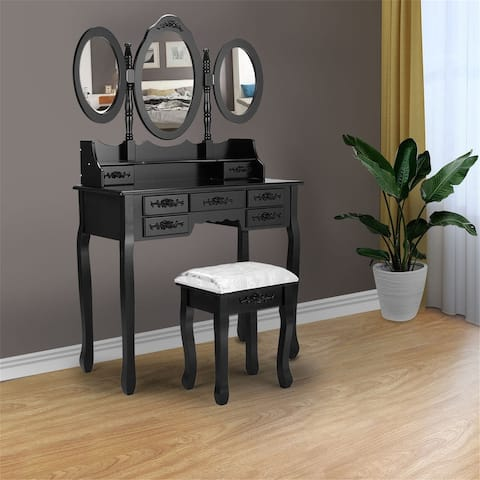 Three mirror dressing table with stool-black