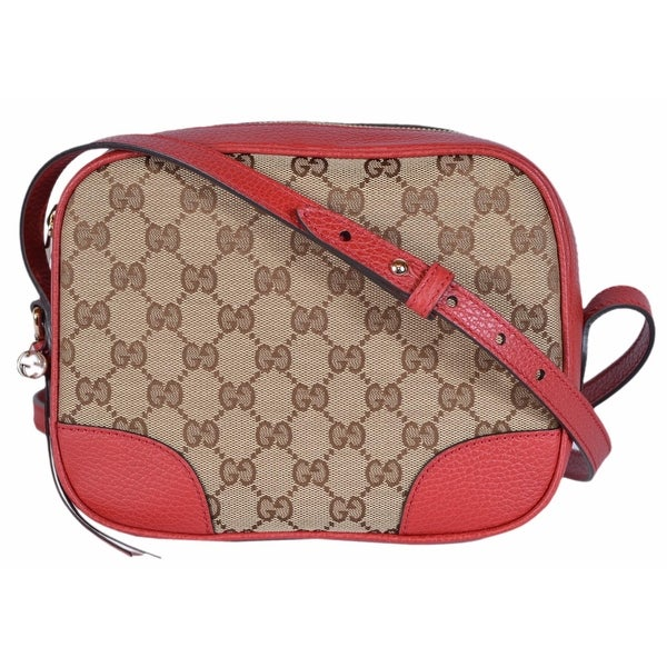 c1aa5e7dfbee02 Gucci 449413 Beige Red Canvas Leather GG Guccissima BREE Crossbody Purse