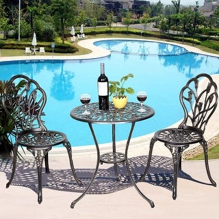 Cast Aluminum Patio Furniture Tulip Design Bistro Set Antique Copper