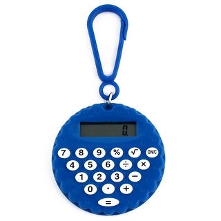 Plastic Biscuit Shape Portable LCD Display 8 Digits Key Chain w Calculator Blue
