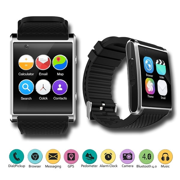 2018 1.54-inch OLED SmartWatch by Indigi® - QuadCore CPU - Android 5.1 Lollipop - GPS - Pedometer - WiFi - Black