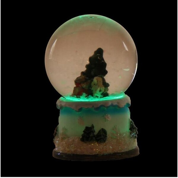 """2.75"""" Green and White Christmas Tree LED Lighted Christmas Snow Globe Glitterdome"""