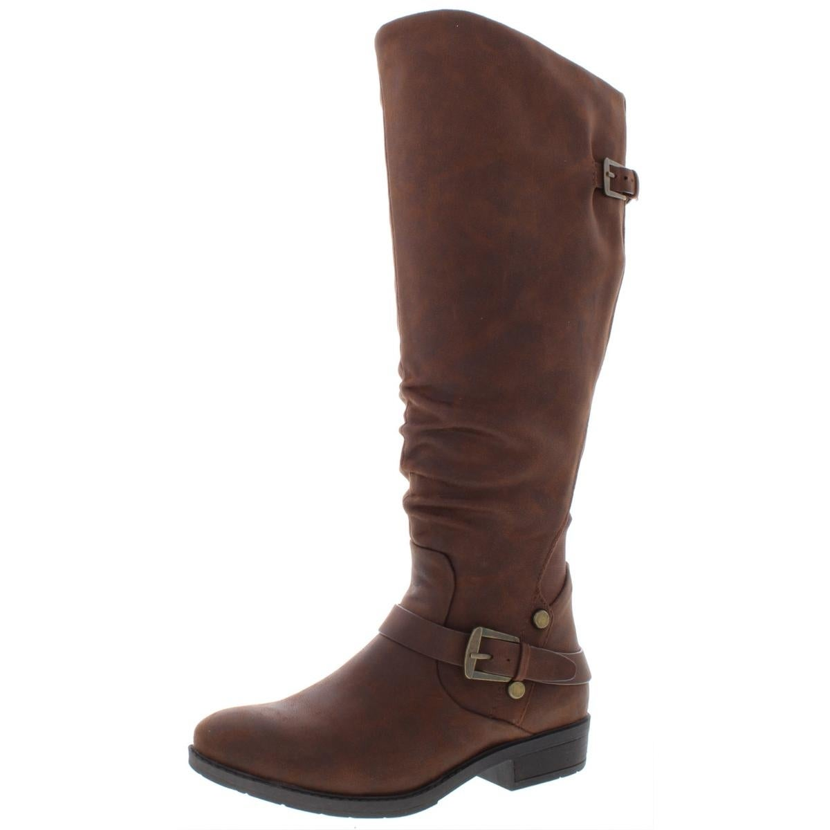 Faux Leather Wide Calf Riding Boots