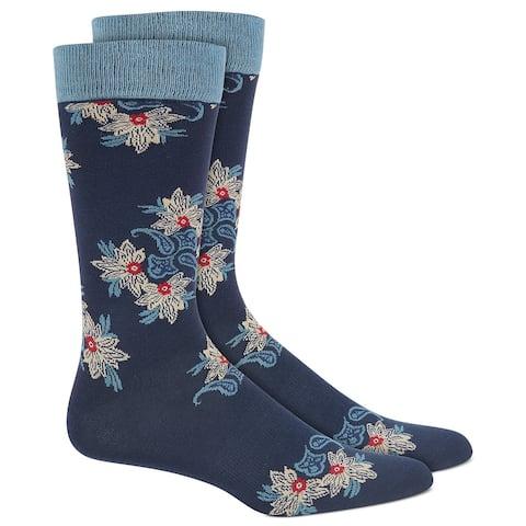 Bar III Men's Paisley Floral Socks Blue Size Regular