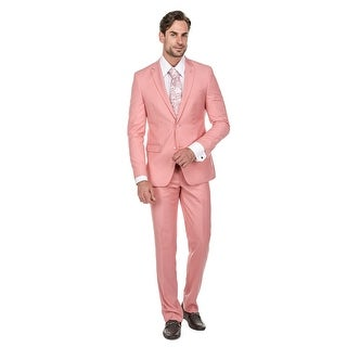 Porto Filo 2 Pcs Pink Slim-Fit Men's Suit (Jacket+ Pant)
