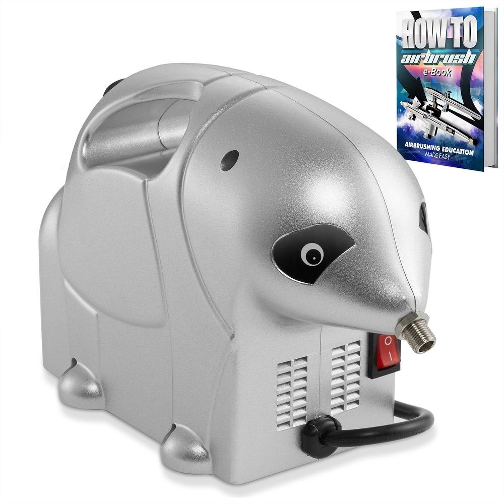 PointZero 1/8 HP Airbrush Compressor - Small, Quiet, Portable Air Pump (Silver)