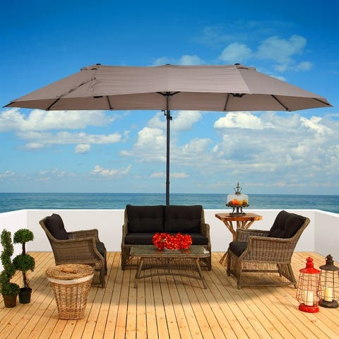 Outsunny Outdoor Offset Patio Cantilever Umbrella with Large Double Canopy & High-Quality Water-Fighting Material