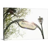 Premium Thick-Wrap Canvas entitled Metro sign in Paris