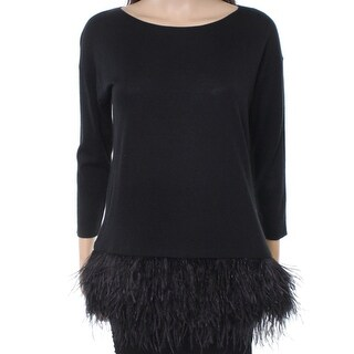 Polo Ralph Lauren NEW Black Women Small S Feather-Trim Pullover Sweater