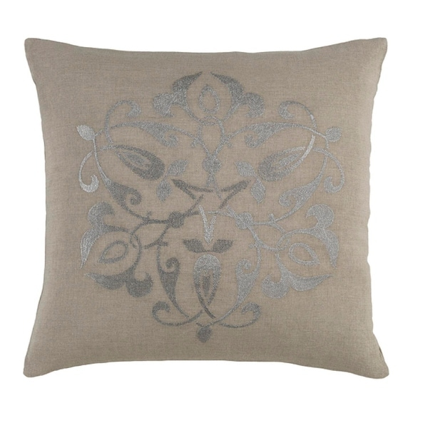 "18"" Medallion Chic Fog Gray and Metallic Silver Decorative Throw Pillow - Down Filler"