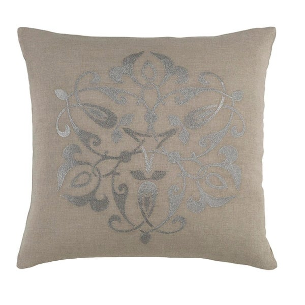 """18"""" Medallion Chic Fog Gray and Metallic Silver Decorative Throw Pillow - Down Filler2"""
