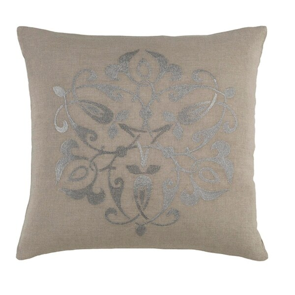 "18"" Medallion Chic Fog Gray and Metallic Silver Decorative Throw Pillow"