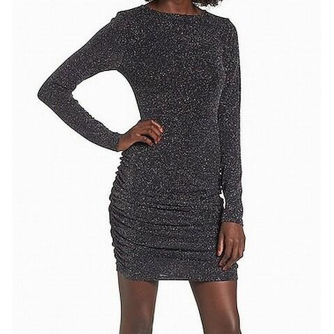 Leith Black Women's Size Large L Shimmer Ruched Bandage Dress