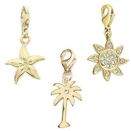Julieta Jewelry Pal Tree, Starfish, Sun 14k Gold Over Sterling Silver Clip-On Charm Set