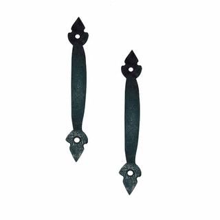 2 Door Pulls Black Wrought Iron Fleur de Lis Set of 2 | Renovator's Supply