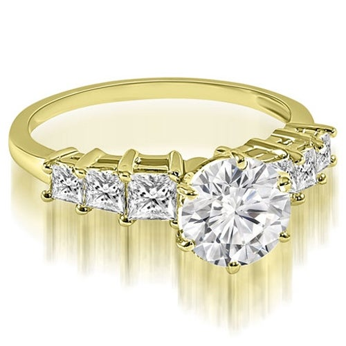 1.50 cttw. 14K Yellow Gold Round and Princess cut Diamond Engagement Ring
