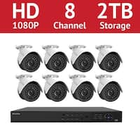 LaView 8-Channel Full HD IP Indoor/Outdoor Surveillance 2TB HDD NVR Video Security System (8) 1080P Camera with Free App