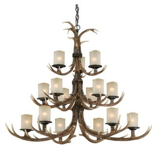Vaxcel Lighting H0029 Yoho 15 Light Three Tier Chandelier with Frosted Glass Shades - 52.5 Inches Wide