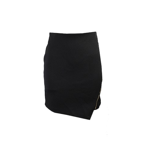 Kensie Black Quilted Asymmetrical Zip-Detailed Skirt XS